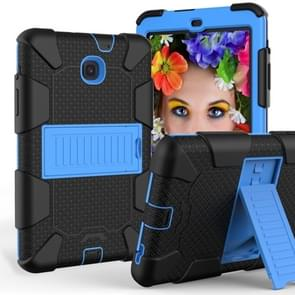 Shockproof Two-color Silicone Protection Shell for Galaxy Tab A 8.0 (2018) T387, with Holder (Navy Blue+Blue)