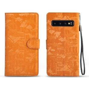 Horizontal Flip 3D Gradient Color PU + TPU Leather Case for Galaxy S10+, with Holder & Card Slots & Photo frame (Orange)
