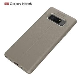 For Galaxy Note 8 Litchi Texture TPU Protective Back Cover Case (Grey)