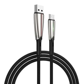 JOYROOM S-M399 Time Series 3A Micro USB Interface Charging + Transmission Nylon Braided Data Cable with Green Marquee, Cable Length: 1.5m(Black)