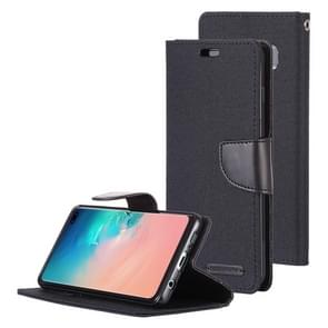 MERCURY GOOSPERY CANVAS DIARY Canvas Texture Horizontal Flip PU Leather Case for Galaxy S10 Plus, with Holder & Card Slots & Wallet (Black)