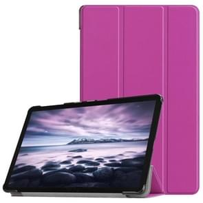 Custer Texture Horizontal Flip PU Leather Case for Galaxy Tab A 10.5 / T595 & T590, with Three-folding Holder & Sleep / Wake-up Function (Purple)