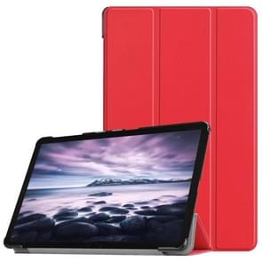 Custer Texture Horizontal Flip PU Leather Case for Galaxy Tab A 10.5 / T595 & T590, with Three-folding Holder & Sleep / Wake-up Function (Red)