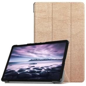 Custer textuur horizontaal flip PU lederen Case voor Galaxy Tab een 10.5 / T595 & T590  met drie-vouwen houder & slaap / Wake-up functie (Rose goud)