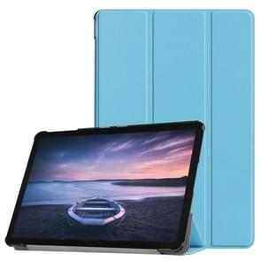 Custer Texture Horizontal Flip PU Leather Case for Galaxy Tab S4 10.5 / T835, with Three-folding Holder & Sleep / Wake-up Function (Blue)