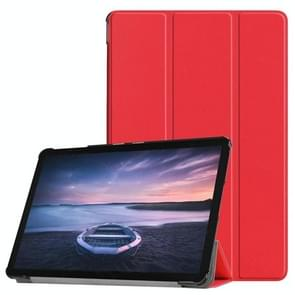 Custer Texture Horizontal Flip PU Leather Case for Galaxy Tab S4 10.5 / T835, with Three-folding Holder & Sleep / Wake-up Function (Red)