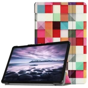 Colorful Magic Cube Pattern Horizontal Flip PU Leather Case for Galaxy Tab A 10.5 / T595 & T590, with Three-folding Holder & Sleep / Wake-up Function