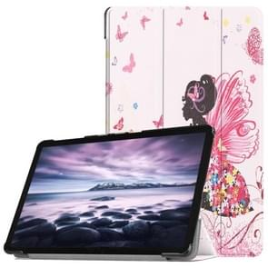 Butterfly Fairy Pattern Horizontal Flip PU Leather Case for Galaxy Tab A 10.5 / T595 & T590, with Three-folding Holder & Sleep / Wake-up Function