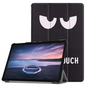 Eyes Pattern Horizontal Flip PU Leather Case for Galaxy Tab S4 10.5 / T835, with Three-folding Holder & Sleep / Wake-up Function