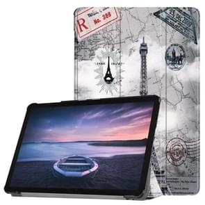 Retro Tower Pattern Horizontal Flip PU Leather Case for Galaxy Tab S4 10.5 / T835, with Three-folding Holder & Sleep / Wake-up Function