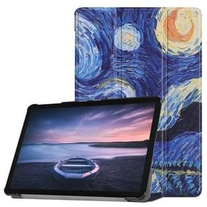 Starry Sky Pattern Horizontal Flip PU Leather Case for Galaxy Tab S4 10.5 / T835, with Three-folding Holder & Sleep / Wake-up Function