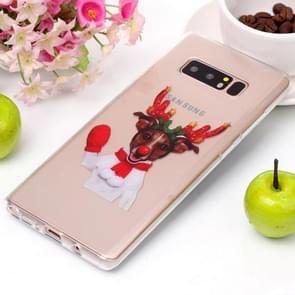For Galaxy Note 8 Red Glove Elk Pattern High Transparency Soft TPU Protective Case