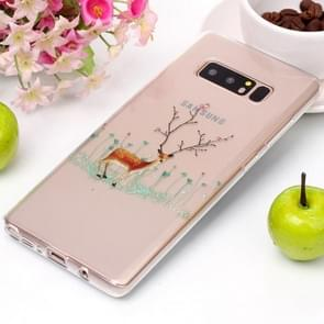 For Galaxy Note 8 Tree Branch Elk Pattern High Transparency Soft TPU Protective Case