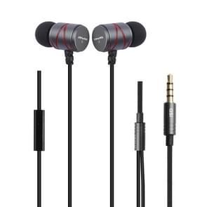 awei Q5i Nylon weven In-ear Wire controle oortelefoon met microfoon  voor iPhone  iPad  Galaxy  Huawei  Xiaomi  LG  HTC en andere Smartphones(Grey)