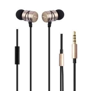 awei Q5i nylon weave in-ear Wire Control oortelefoon met mic  voor iPhone  iPad  Galaxy  Huawei  Xiaomi  LG  HTC en andere smartphones (goud)