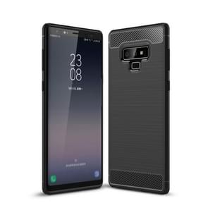 Brushed Texture Carbon Fiber Shockproof TPU Case for Galaxy Note 9(Black)