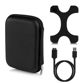 3 in 1 2.5 inch HDD Enclosure Storage Bag + Hard Disk Silicone Case + Mirco B USB 3.0 Mobile Hard Disk Data Cable Kit(Black)