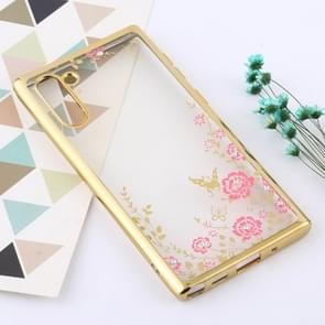 Flowers Patterns Electroplating Soft TPU Protective Cover Case for Galaxy Note 10 (Gold)