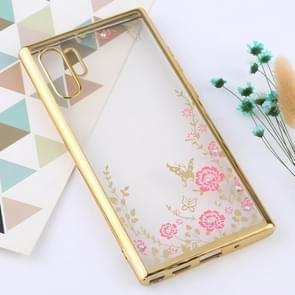 Flowers Patterns Electroplating Soft TPU Protective Cover Case for Galaxy Note 10+ (Gold)