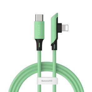 Baseus kleurrijke serie 18W Elbow USB-C/type-C naar 8 pin Data Sync oplaadkabel PD kabel, lengte: 1.2 m (groen)