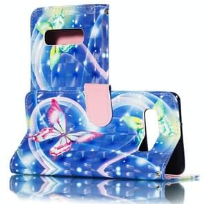 3D Hearted Butterflies Pattern Horizontal Flip PU Leather Case for Galaxy S10+, with Holder & Card Slots & Wallet & Photo Frame