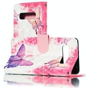 3D Pink Butterflies Pattern Horizontal Flip PU Leather Case for Galaxy S10+, with Holder & Card Slots & Wallet & Photo Frame