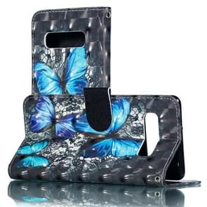 3D Blue Diamond Butterflies Pattern Horizontal Flip PU Leather Case for Galaxy S10+, with Holder & Card Slots & Wallet & Photo Frame