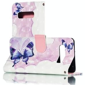 3D Swallowtail Butterflies Pattern Horizontal Flip PU Leather Case for Galaxy S10+, with Holder & Card Slots & Wallet & Photo Frame