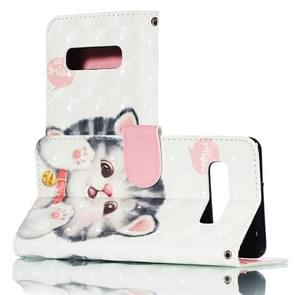 3D Jingle Cat Pattern Horizontal Flip PU Leather Case for Galaxy S10+, with Holder & Card Slots & Wallet & Photo Frame