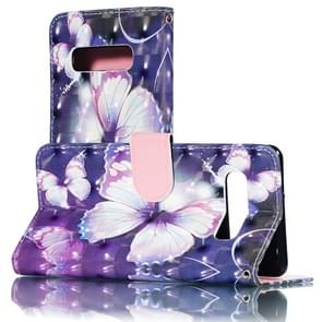 3D Purple Butterflies Pattern Horizontal Flip PU Leather Case for Galaxy S10+, with Holder & Card Slots & Wallet & Photo Frame