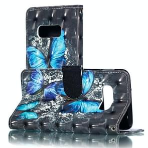 3D Blue Diamond Butterflies Pattern Horizontal Flip PU Leather Case for Galaxy S10e, with Holder & Card Slots & Wallet & Photo Frame