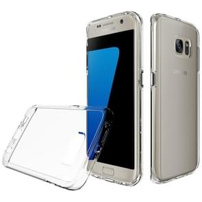 For Galaxy S7 Edge PC + TPU Chrome Plated Press Button Transparent Protective Back Cover Case(Transparent)