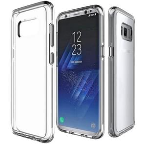 For Galaxy S8 PC + TPU Chrome Plated Press Button Transparent Protective Back Cover Case(Transparent)