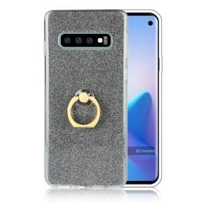 Glittery Powder Shockproof TPU Protective Case for Galaxy S10 Plus, with 360 Degree Rotation Ring Holder (Black)