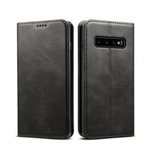 Suteni Calf Texture Horizontal Flip Leather Case for Galaxy S10 Plus, with Holder & Card Slots & Wallet (Black)