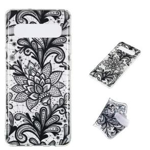 Black Flower Pattern Highly Transparent TPU Protective Case for Galaxy S10 5G