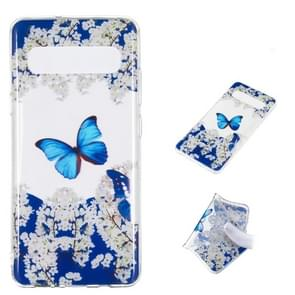 Blue Butterfly Pattern Highly Transparent TPU Protective Case for Galaxy S10 5G