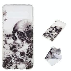 Black Flower Skull Pattern Highly Transparent TPU Protective Case for Galaxy S10 5G