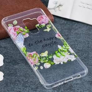 For Galaxy S9+ Green Leaf Flower Pattern TPU Soft Protective Back Case