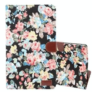 Dibase Flower Pattern Horizontal Flip PU Leather Case for Galaxy Tab S4 10.5 / T830, with Holder & Card Slot (Black)