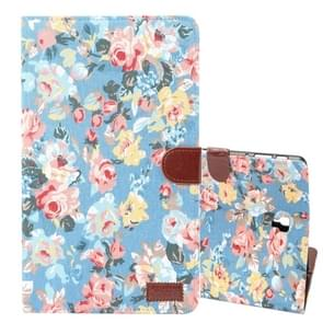 Dibase Flower Pattern Horizontal Flip PU Leather Case for Galaxy Tab S4 10.5 / T830, with Holder & Card Slot (Blue)