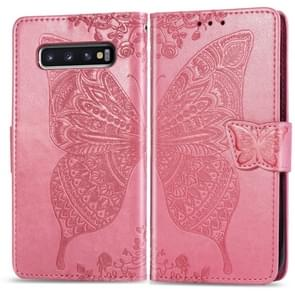 Butterfly Love Flowers Embossing Horizontal Flip Leather Case for Galaxy S10+, with Holder & Card Slots & Wallet & Lanyard (Pink)
