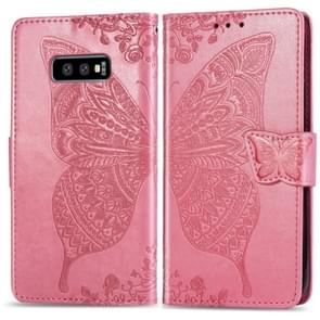 Butterfly Love Flowers Embossing Horizontal Flip Leather Case for Galaxy S10e, with Holder & Card Slots & Wallet & Lanyard(Pink)