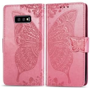 Vlinder liefde bloemen reliëf horizontale Flip lederen case voor Galaxy S10e  met houder & card slots & portemonnee & Lanyard (roze)