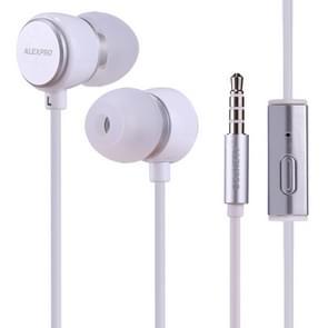 ALEXPRO E110i 1.2 m in-ear Bass stereo bedrade Control koptelefoon met mic  voor iPhone  iPad  Galaxy  Huawei  Xiaomi  LG  HTC en andere smartphones (wit)