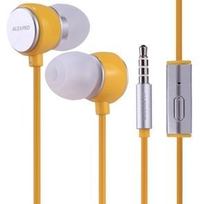 ALEXPRO E110i 1.2 m in-ear Bass stereo bedrade Control koptelefoon met mic  voor iPhone  iPad  Galaxy  Huawei  Xiaomi  LG  HTC en andere smartphones (geel)