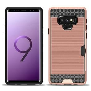 Brushed Texture Dropproof Protective Back Case for Galaxy Note 9, with Card Slot (Rose Gold)