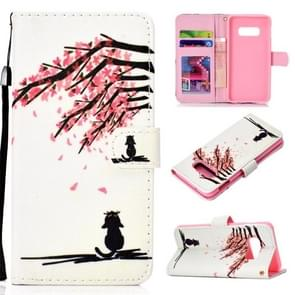 Cherry Tree Pattern Colored Drawing Horizontal Flip Leather Case for Galaxy S10 E, with Holder & Card Slots & Wallet & Lanyard