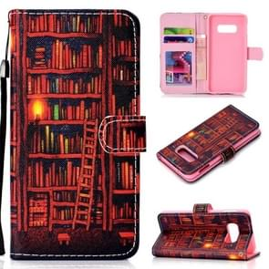 Bookshelf Pattern Colored Drawing Horizontal Flip Leather Case for Galaxy S10 E, with Holder & Card Slots & Wallet & Lanyard