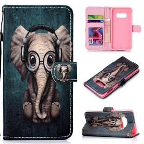 Elephant Pattern Colored Drawing Horizontal Flip Leather Case for Galaxy S10 E, with Holder & Card Slots & Wallet & Lanyard